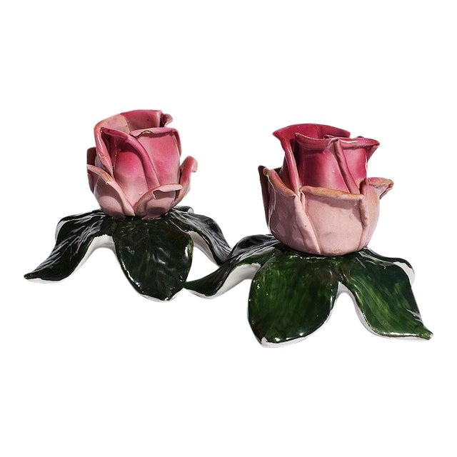 Dresden Ceramic Porcelain Floral Pink and Green Candle Holders, Germany - a Pair For Sale