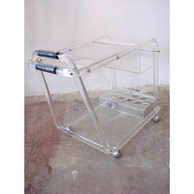 Mid-Century Lucite Bar Cart With Chrome Accents For Sale - Image 4 of 7