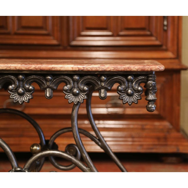 Metal Late 20th Century French Polished Iron Pastry Table With Red Marble Top For Sale - Image 7 of 11