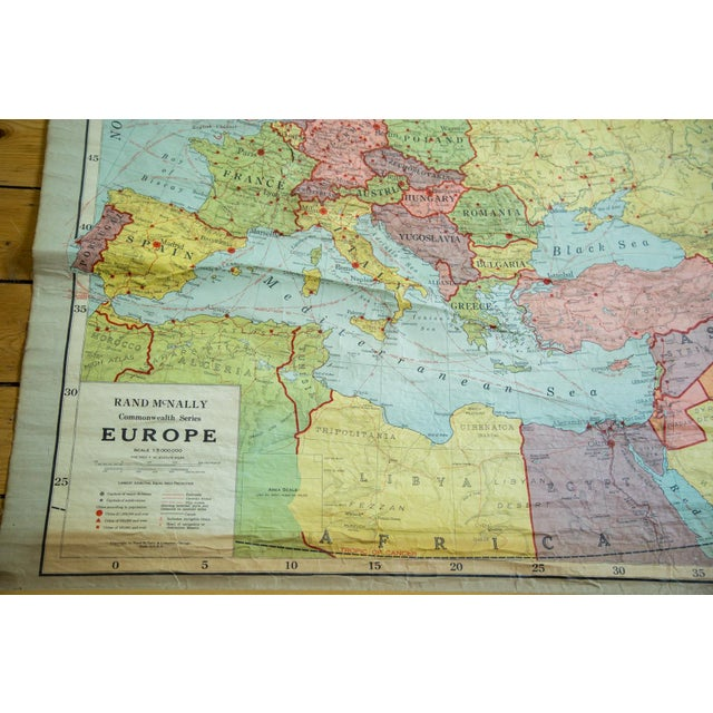Antique Rand Mcnally European Pull Down Map Chairish