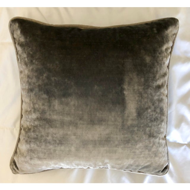 Silver Grey Velvet Pillows Re-Designed With Antique Silver Wire Embroidery- a Pair For Sale - Image 8 of 13