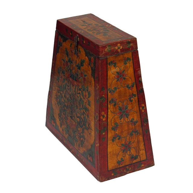 Chinese Tibetan Red Yellow Floral Graphic Trunk Box Table For Sale - Image 4 of 9