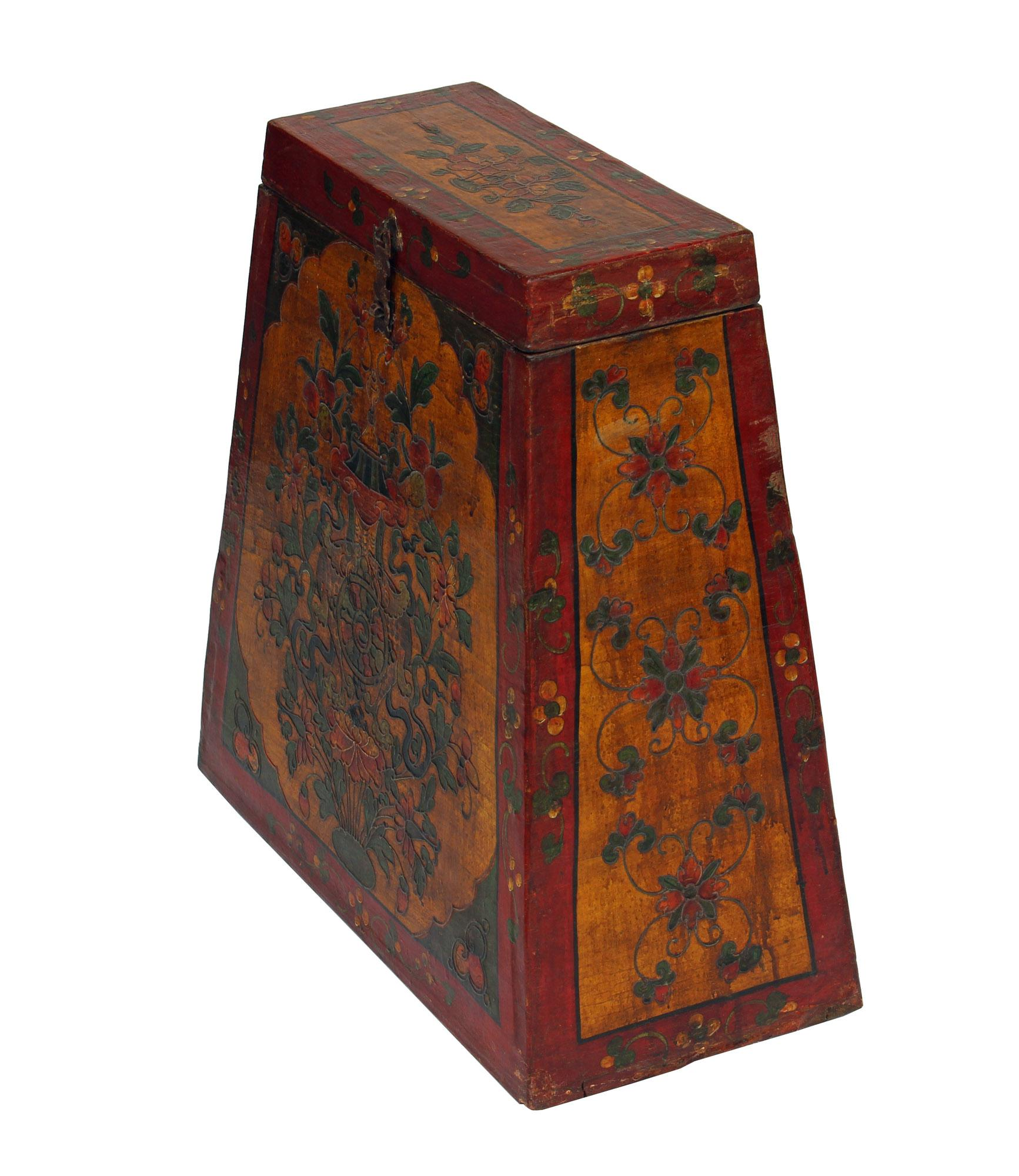 Chinese Tibetan Red Yellow Floral Graphic Trunk Box Table For Sale   Image  4 Of 9