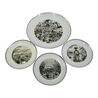 1950s Alf Jarnestad for Karlskrona Porcelain Exotica Plates - Set of 4 For Sale