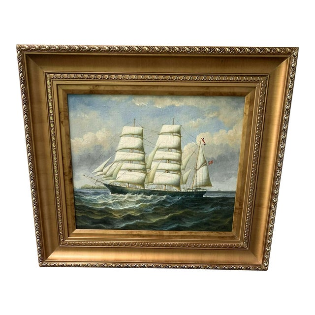 Oil Painting of British Sailing Ship For Sale