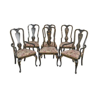 Drexel Heritage Set of 6 Black Lacquer Chinoiserie Painted Dining Chairs For Sale