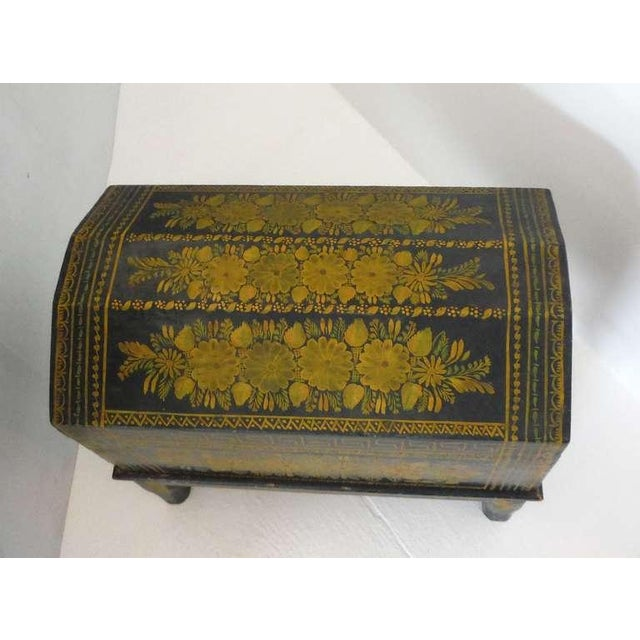 Primitive Antique Ebonized Hand-Painted Mexican Wedding Trunk For Sale - Image 3 of 9