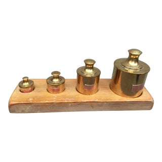 1970's Tobacco/Pills/Matches/ Things Brass Desk Set or Set of Jars For Sale