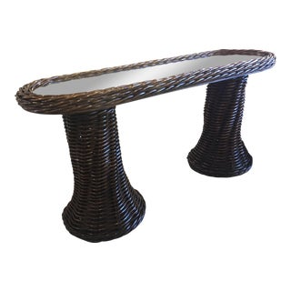 Vintage Double Pedestal Braided Wicker Console Table For Sale