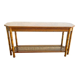 Faux Bamboo Wooden Carved Console With Rattan Details