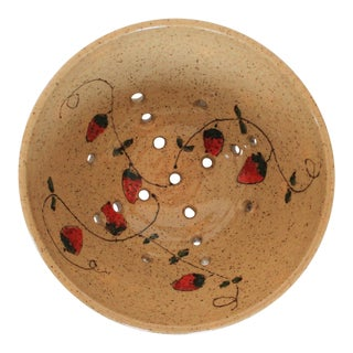 Handmade Pottery Strawberry Colander For Sale