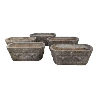 Set of Five Vintage Cast Stone Planters For Sale