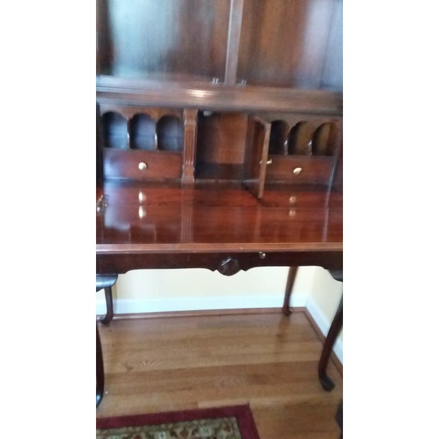 American Vintage Cherrywood Secretary Desk with Hutch For Sale - Image 3 of 4