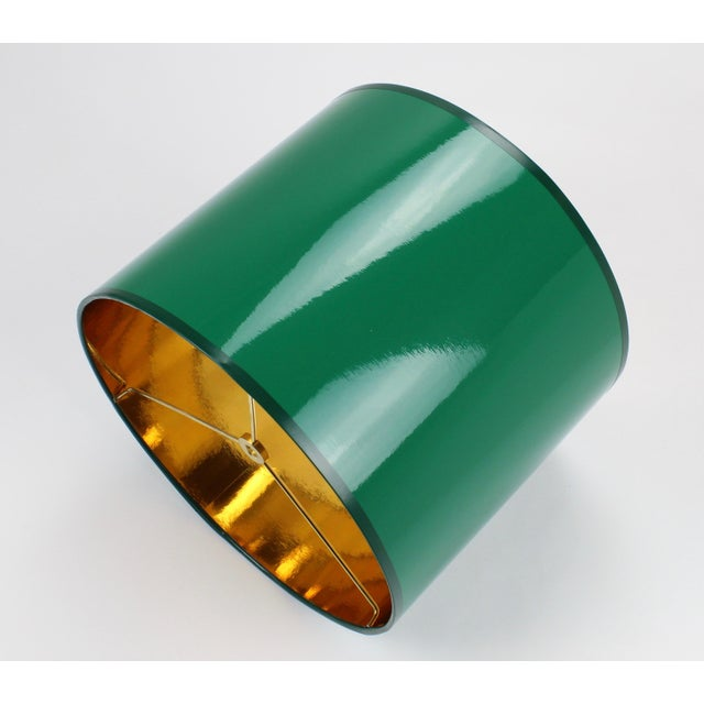Not Yet Made - Made To Order Small High Gloss Emerald Green Drum Lampshade For Sale - Image 5 of 7
