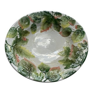 Vintage Italian Majolica White With Green Leaves Salad Bowl For Sale