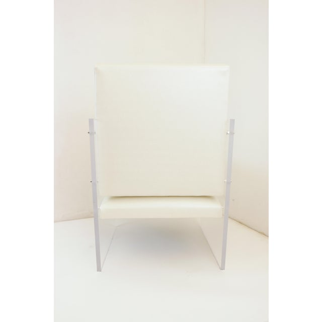 Vintage Mid Century Modern Clear Lucite & White Upholstered Arm Chair For Sale - Image 6 of 13