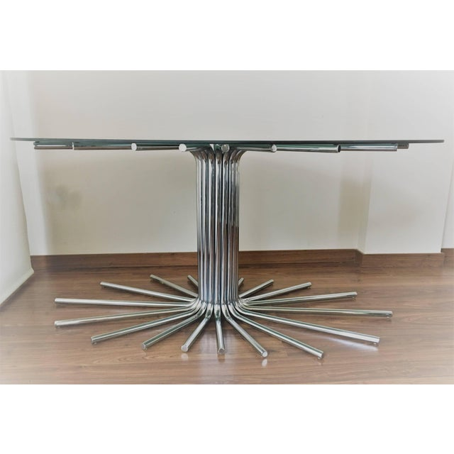 Midcentury chrome star base table with smoked glass Oval top in the manner Gastone Rinaldi. Chrome in nice condition....