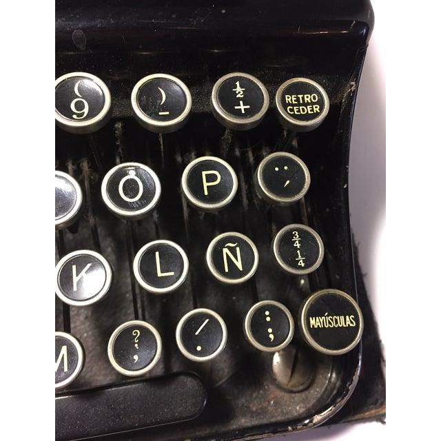 Metal Antique Remington Spanish Typewriter For Sale - Image 7 of 10