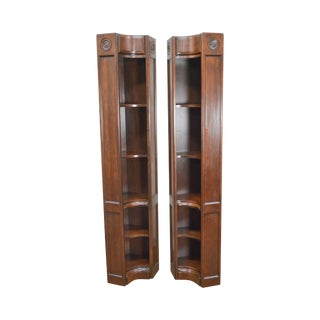 Harden Solid Cherry Corner Open Bookcases - a Pair