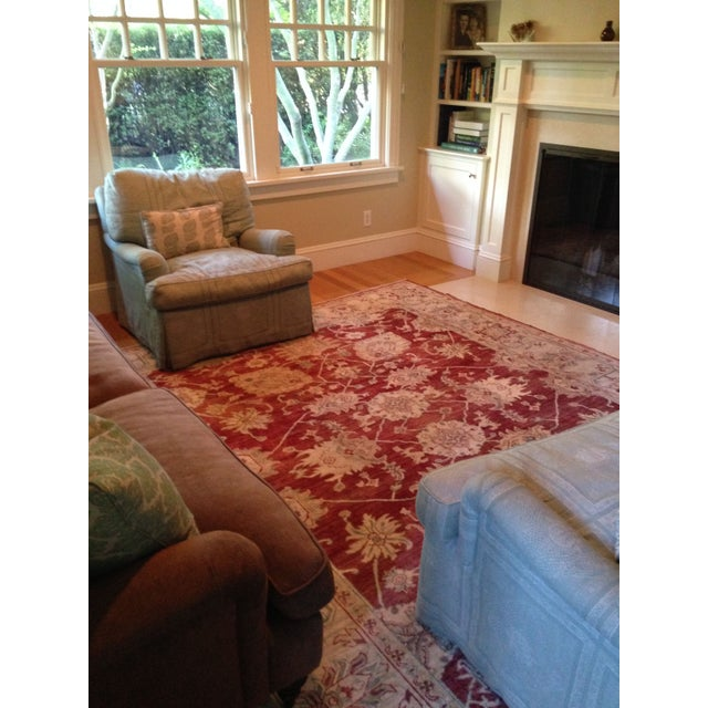 Traditional Oriental Handmade Red Rug - 8' X 10' For Sale - Image 3 of 7