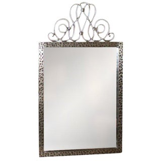 1940's Vintage Raymond Subes Style French Art Deco Steel Mirror For Sale
