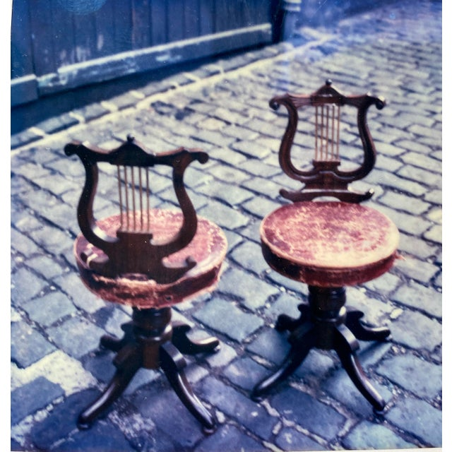 Antique Regency Lyre Back Rosewood Scottish Piano Chairs, Adjustable Height - a Pair For Sale - Image 12 of 13