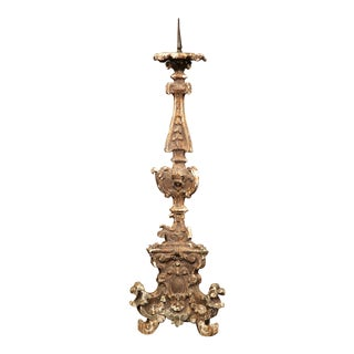 Tall 19th Century Italian Carved Giltwood Pricket Candlestick