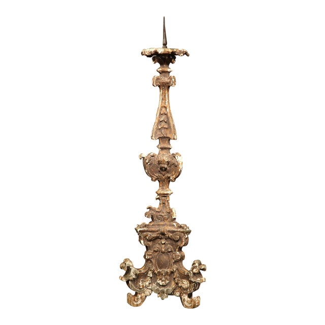 Tall 19th Century Italian Carved Giltwood Pricket Candlestick - Image 1 of 10