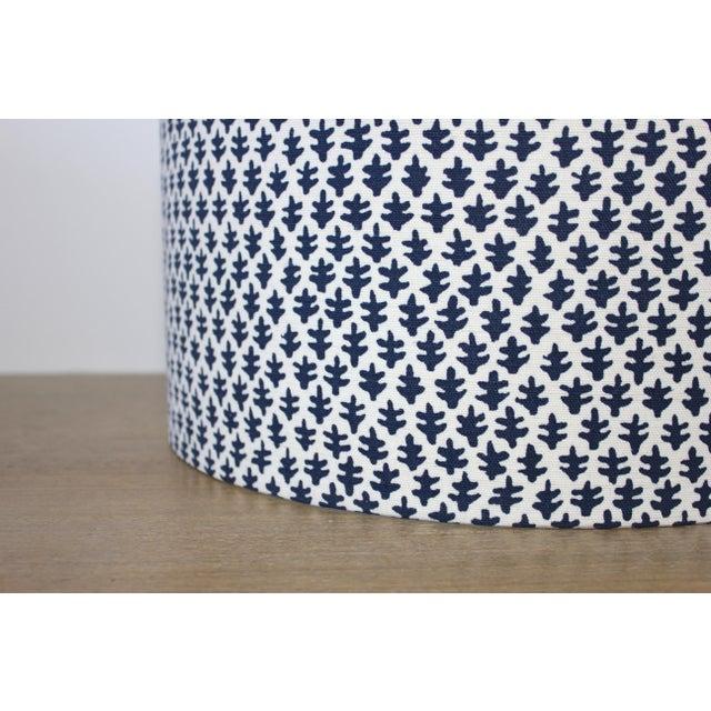 Boho Chic Indigo Burmese Sister Parish Fabric Drum Lampshade For Sale - Image 3 of 4