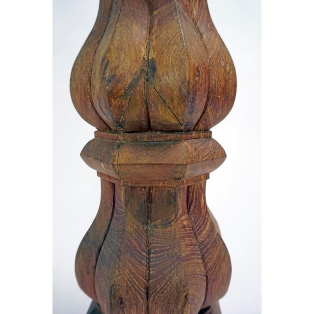Tall Hand-Carved Balustrade Redwood Lamp For Sale - Image 4 of 7