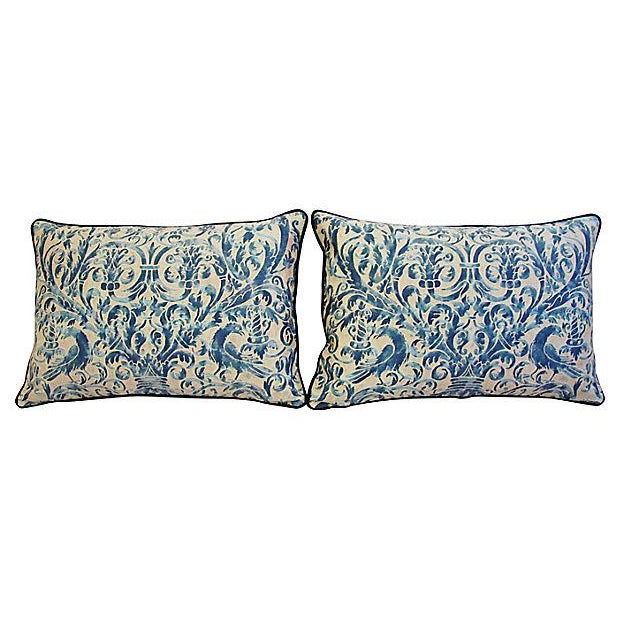 Custom Designer Italian Fortuny Uccelli Feather/Down Pillow (One Pillow) - Image 10 of 10