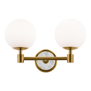 Lunar Double Wall Light in Brass For Sale
