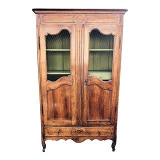 Antique 18c Fruit Wood Mesh Front Bookcase/Armoire For Sale