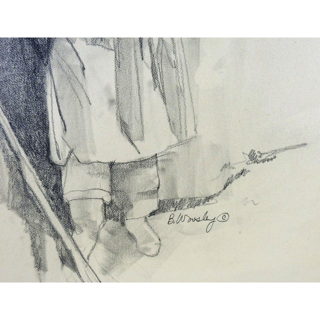 Figurative Pencil Portrait Pueblo Woman For Sale - Image 3 of 3