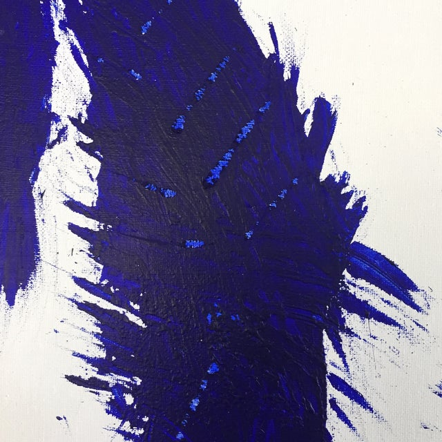 Blue on White Framed Abstract Landscape Painting For Sale - Image 4 of 9