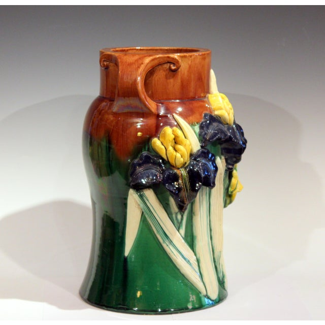 Large 1920s Awaji Pottery Antique Applied Irises in Deep Relief Vase For Sale - Image 4 of 13