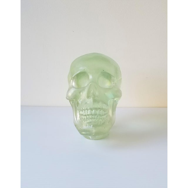 """Extremely detailed sand-casted glass skull. This is an unsigned studio piece """"mistake"""" by acclaimed artist Paul Marioni...."""