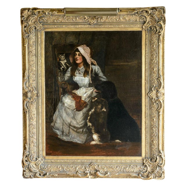 "19th C. Dutch ""Lady with Dogs and Cat"" Oil Painting For Sale"
