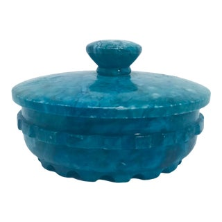 Vintage Italian Deep Turquoise Hand Carved Alabaster Lidded Round Box For Sale