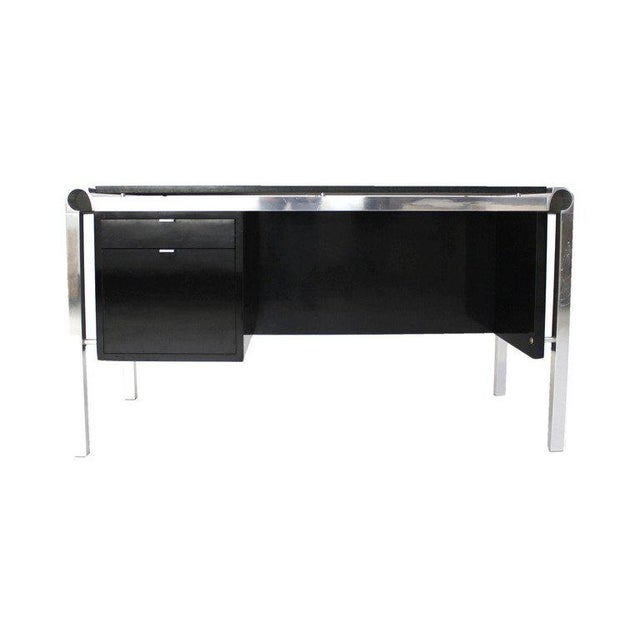 Silver Mid Century Modern Heavy Granite Top Desk For Sale - Image 8 of 8