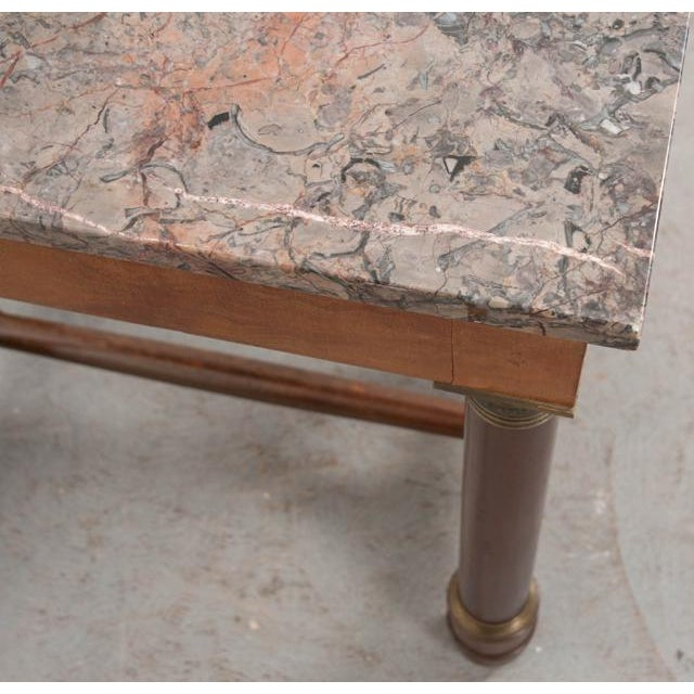Early 20th Century French Empire Mahogany Marble Top Table For Sale - Image 4 of 13