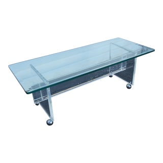 Mid Century Modern Lucite Acrylic and Glass Top Coffee Table For Sale