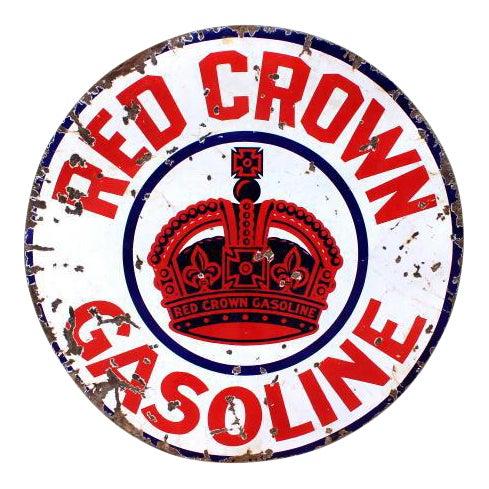 Red Crown Gasoline Porcelain Sign - Image 1 of 4
