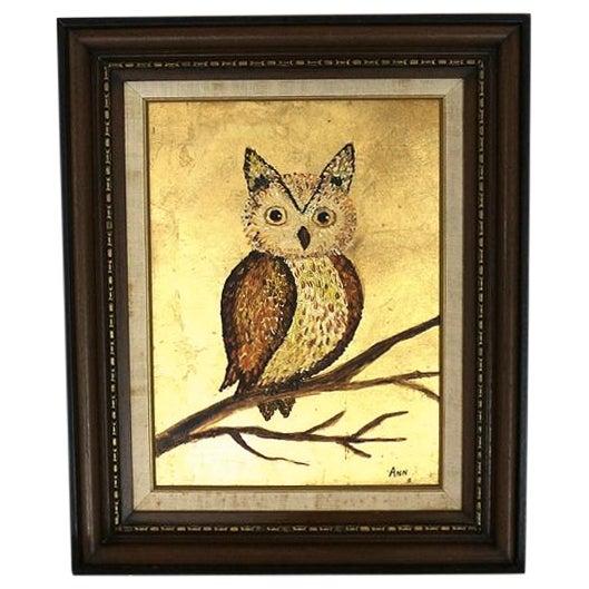 1960s Framed Golden Owl Painting - Image 1 of 5