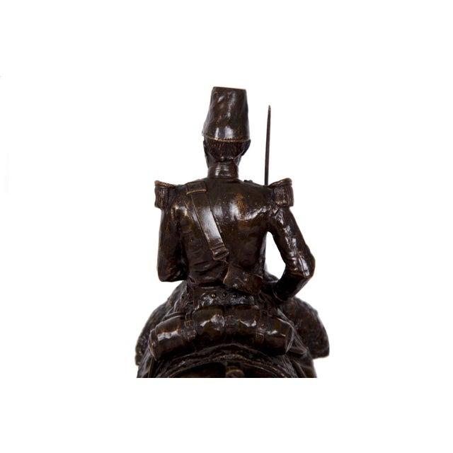 Bronze Antique French Bronze Sculpture of a Soldier on Horseback by Emmanuel Fremiet For Sale - Image 7 of 13