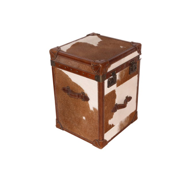 Pasargad Side Table With Brown & White Cowhide Top For Sale