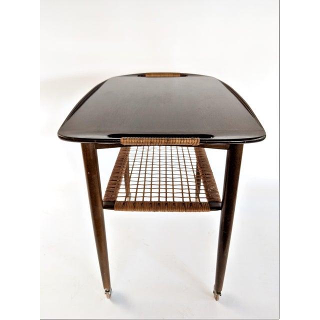 Wood 1960s Vintage Paoul Jensin for Selig Danish Modern Bar Cart For Sale - Image 7 of 13