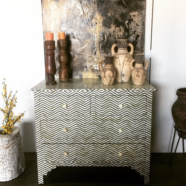 Ebony & White Bone Inlay Dresser For Sale In Los Angeles - Image 6 of 7