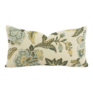Jf Fabrics Delta in Spa With Orlando in Soft Ivy Lumbar Pillow Cover For Sale