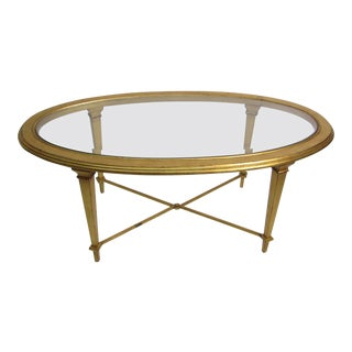 1960s Hollywood Regency Gold Oval Coffee Table For Sale